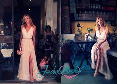 JOL166 Romantic boho chiffon and lace underlay slit wedding dress |JOL166| :