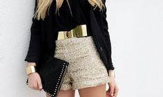 ¡Outfit para esta noche! Cinto dorado espejo