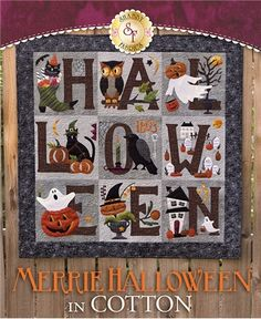 Merrie Halloween BOM - Cotton - Pre-fused/Laser-cut: Get your home ready for Halloween with this adorably spooky Merrie Halloween Quilt designed by Buttermilk Basin! This quilt features pumpkins, crows, owls
