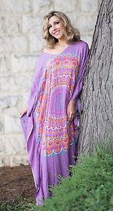NWT-Boho-Hippy-Chic-Beaded-Mandala-Kaftan-Dress-Gypsy-Bohemian-Hippie-FS-Purple