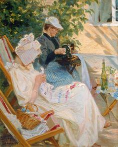 Zwei Frauen im Garten (In der Laube)