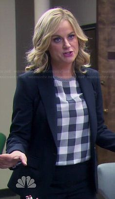 Leslie's black and white checked top on Parks and Recreation.  Outfit Details: http://wornontv.net/43640/ #ParksandRecreation