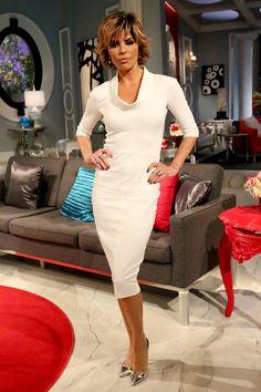 Lisa Rinna.. Victoria Beckham dress, with metallic Gianvito Rossi pumps.. #RHOBH
