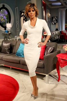 Lisa Rinna.. Victoria Beckham dress, with metallic Gianvito Rossi pumps.. #RHOBH