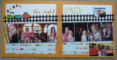 trolley/ train ride scrapbook page