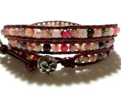Pink Agate Leather Wrap Bracelet with Sterling by StaggsLane, $64.00