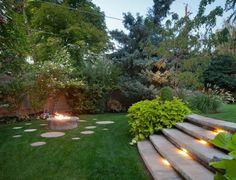 escalier exrérieur et éclairage de jardin contemporain