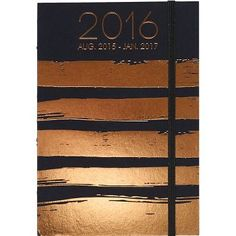 Sleek stitch-binding allows this hardcover planner to lay completely flat. Featuring a striking copper foil accent on the cover and page edges, this modern planner features monthly and weekly views.<b