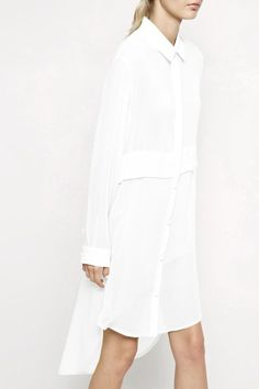 white, minimal, collared, dress, button up