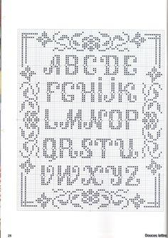 ru / Foto # 26 - Point de croix Collector Avril-Mai 2009 - natalytretyak Plus Alphabet Au Crochet, Crochet Letters, Cross Stitch Alphabet Patterns, Embroidery Alphabet, Cross Stitch Letters, Cross Stitch Boards, Cross Stitch Heart, Cross Stitch Samplers, Cross Stitch Designs