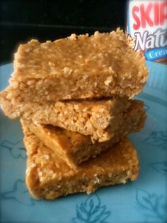 Just need a small piece-good before exercising or to eat on the way home instead of some drive thru junk. Combine 1 cup peanut butter, 1 cup honey, and three cups of oatmeal to make these awesome peanut butter bars! No baking required - just mix, press into a pan, and let sit overnight.