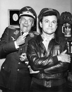 Werner Klemperer and Bob Crane on the set of Hogan's Heroes