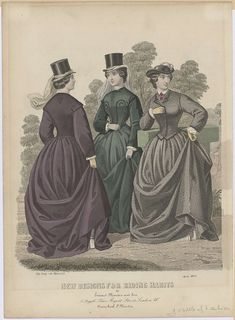 Gazette of Fashion, New designs for riding habits, April 1862, anonymous, 1862