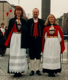 Norway Women | A cold day for the Bunad -- but he has his Jacket & The ladies have capes.  A nation made of Wool.  I love it.