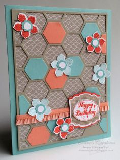 Stampin' Up! Petite Petals Hexagon Hive Birthday Card Elaine's Creations