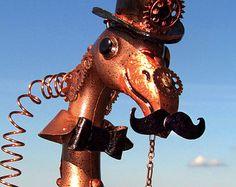 Sir Steampunk Flamingo Incognito handmade home garden art sculpture faux copper Victorian gift