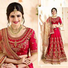 Indian Bollywood Pink Georgette Wedding Lehenga Choli Bridal Dupatta For Womens