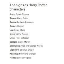 Image result for the zodiac signs as harry potter characters
