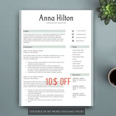 Professional Resume Template For Pages  Ms Word Complete
