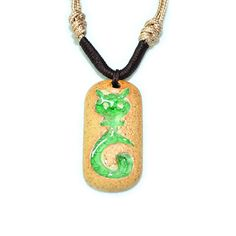 Green cat charm necklace rustic pottery plate by dermusensohn2000, $15.50