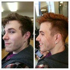 Before & After.  Hair by Natasha Kuptz. Duncan Edward- Progressive European Hair Design in Madison, Wisconsin www.duncanedward.com #duncanedward #menshair #boyshair #moderncuts #barber #redhair