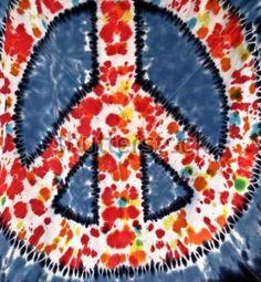 ☮ American Hippie Art ~ Peace Sign  .. Splatter Tie Dye Red
