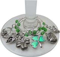 Wine Charms with Irish theme!  Green shamrocks included!