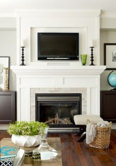 reface fireplace with tv mounted - Google Search
