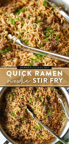 Yummy Pasta Recipes, Ramen Recipes, Stir Fry Recipes, Gourmet Recipes, Cooking Recipes, Delicious Dishes, Drink Recipes, Delicious Recipes, Kitchens