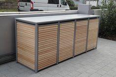 4er Mülltonnenbox Alu Lärche Flachdach