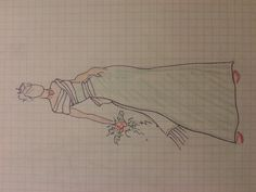 Sage dress with white wrap and bow in back.  Drawing by Carmen Rose Shenk