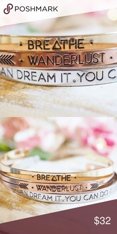 """⭐️INSPIRATIONAL boho message bangles / bracelets coming soon⭐️INSPIRATIONAL boho message bangles / bracelets. Comes in rose gold, gold, and silver. 18k plated. Messages are as seen in photo. Choose message/color or bundle for all 3 at a discount. """"free spirit"""" and """"fearless"""" also available, but differs slightly in size. See other boutique listings for more info. 💌guaranteed fast shipping💌 Twilight Gypsy Collective Jewelry Bracelets"""