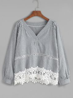 Shop Blue Vertical Striped V Neck Contrast Crochet Hem Blouse online. SheIn offers Blue Vertical Striped V Neck Contrast Crochet Hem Blouse & more to fit your fashionable needs. Blouse Styles, Blouse Designs, Mode Top, Relaxed Outfit, Blouse Models, Stripped Dress, Budget Fashion, Korean Fashion, Couture
