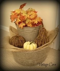 Old Galvanized Bucket Thanksgiving display ~ Vintage Cove
