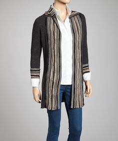 Take a look at this Charcoal Wave Stitch Cashmere Long Cardigan by Forte Cashmere on #zulily today! $170 !!