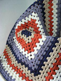 granny square afghan crochet blanket baby boys nursery navy gray orange white beige