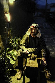 Living nativity scene - a theatrical recreation of the nativity (here in Tuscany - tradition spread all across Italy)