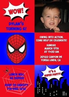 Browse Spiderman Birthday Party Invitations at Announce It! Add you photo free of charge for a very personal touch to your birthday invites. Spiderman Birthday Invitations, Kids Birthday Party Invitations, Spiderman Birthday Ideas, Super Party, 4th Birthday, Party Ideas, Baby Bash, Printable, Lower Belly