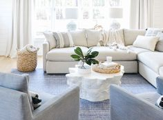 Inside Chrissy Serrano's Beautiful Blue & White Home Chrissy Marie, Basement Inspiration, Tent Sale, North Carolina Homes, House By The Sea, Indoor Outdoor Rugs, Outdoor Living, Living Room Interior, Living Rooms