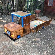 Fun filled sandbox with loads of activities sandbox size x sandbox lid doubles up a seat entire length truck height Built-in toy box under seat built with a combination of pine, plywood and saligna slats painted with an oil base wood dres Kids Outdoor Play, Outdoor Play Areas, Kids Play Area, Outdoor Games, Outdoor Activities, Outdoor Fun, Kids Backyard Playground, Backyard For Kids, Diy For Kids