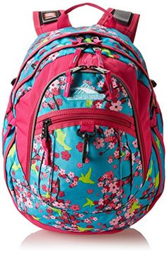 0af81eafb6 High Sierra high school or college girls backpack. Cute Birds and  Blossoms Fuchsia design. The High Sierra Fat Boy back pack.