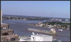 View of the Mississippi River from downtown New Orleans, LA. Live cam when you go to this site.