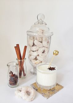 Yummy cocktails paired with donuts! @jan issues Wilke Russell-Snider Bridal #fallcocktails #holidaycocktails #100layercake