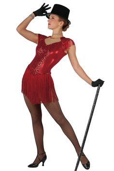 15319 Showstopper | Tap Jazz Funk Dance Costumes | Dansco 2015 | Red foil printed and solid spandex leotard with foam lined sleeves and nude mesh and sequin on spandex inserts. Attached fringe skirt. Red sequined braid and fringe trim. Headpiece included.