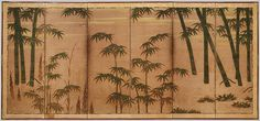 Attributed to Tosa Mitsunobu (Japanese, 1434–1535). Bamboo in the Four Seasons, 16th century. The Metropolitan Museum of Art, New York. The Harry G. C. Packard Collection of Asian Art, Gift of Harry G. C. Packard, and Purchase, Fletcher, Rogers, Harris Brisbane Dick, and Louis V. Bell Funds, Joseph Pulitzer Bequest, and The Annenberg Fund Inc. Gift, 1975 (1975.268.44,45) | The right screen shows a stand of bamboo in the spring and summer, while the left side depicts bamboo in autumn and…