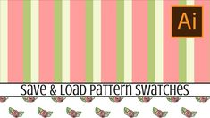 Illustrator - Save & Reuse Pattern Swatches - how to ensure your Patterns are available to use anytime In this video you will learn how to save pattern swatc...
