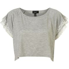 Grey Marl Lace Crop Top (1.860 RUB) ❤ liked on Polyvore featuring tops, t-shirts, shirts, crop tops, women, grey tee, crop top, crop tee, grey t shirt and gray tee