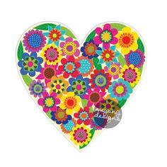 Flower Heart Sticker - Colorful Floral Car Decal Laptop Decal Vinyl Bumper Sticker Hippie Heart Love Wall Decal Cute Car Sticker Boho Art by MeganJDesigns on Etsy https://www.etsy.com/listing/225290241/flower-heart-sticker-colorful-floral-car