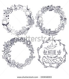 Find Vector Set Hand Drawn Floral Wreathes stock images in HD and millions of other royalty-free stock photos, illustrations and vectors in the Shutterstock collection. Floral Embroidery, Embroidery Patterns, Hand Embroidery, Diy Collage, Floral Doodle, Illustration Blume, Wreath Drawing, Vintage Flowers, Vintage Floral
