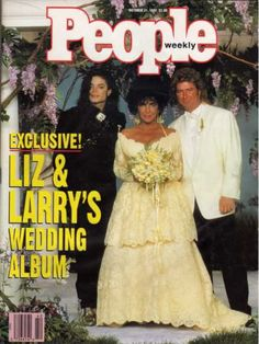 Elizabeth Taylor and husband No. 8: Larry Fortensky. After taking almost a decade-long break from the messy business of marriage, Liz would wear a floor-length, off-the-shoulder gown to exchange vows for the last time, this time with construction worker Larry Fortensky. The pair were married at Michael Jackson's Neverland in October of 1991 and divorced just over five years later.